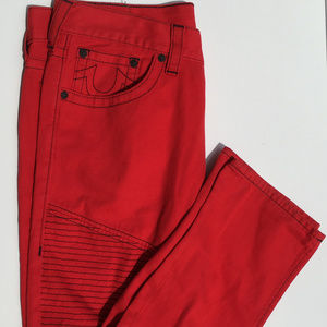True Religion Red with black Moto Mens Jeans 36x33